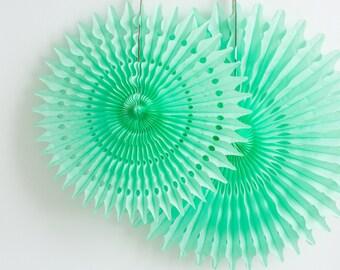 Mint Tissue Paper Fan | 18 inch, 21 inch, or 26 inch