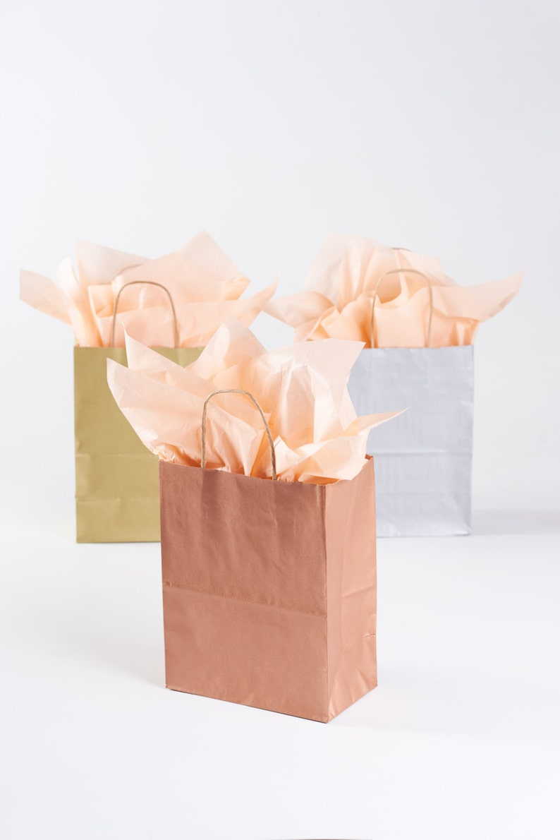 Party Favor Bulk Wholesale Kraft Paper Bag Metallic Copper Rose Gold Welcome Bag 75 Rose Gold Gift Bags with Handles for Wedding Guests