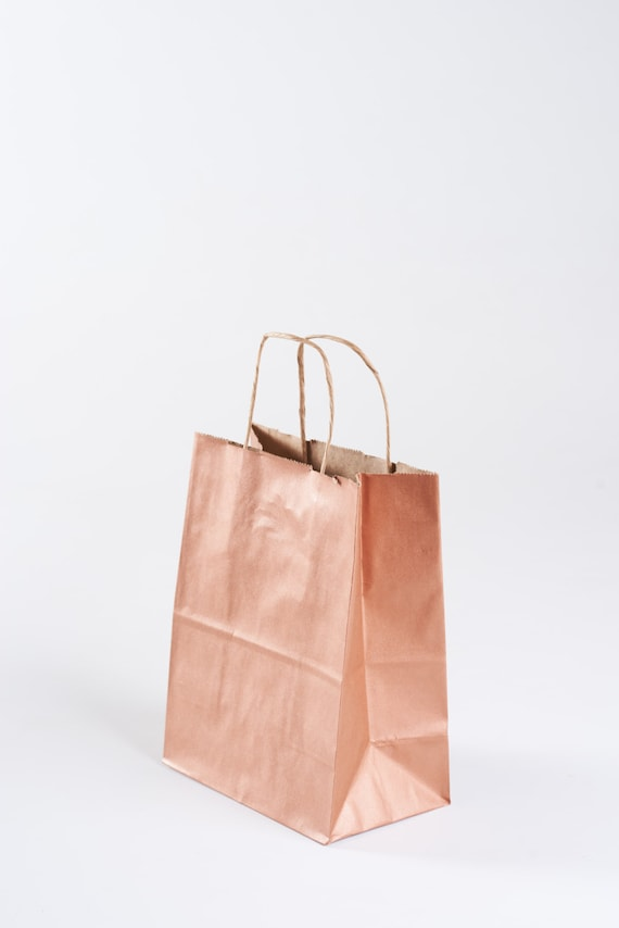 75 Rose Gold Gift Bags With Handles For Wedding Guests Etsy