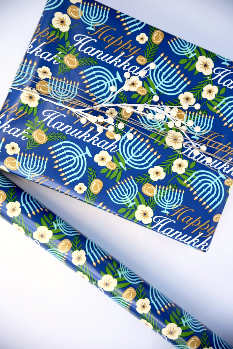 Hanukkah Wrapping Paper  Hanukah Gift Wrap Paper 10 ft Jumbo image 0