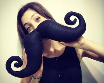 "Shaped handmade handlebar moustache cushion / neck pillow. Home decor. Movember. Black felt. ""Shaved"" to perfection"