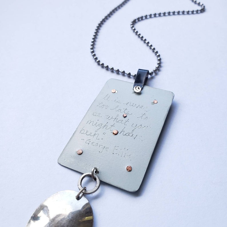 Letter C found object recycled metal pendant