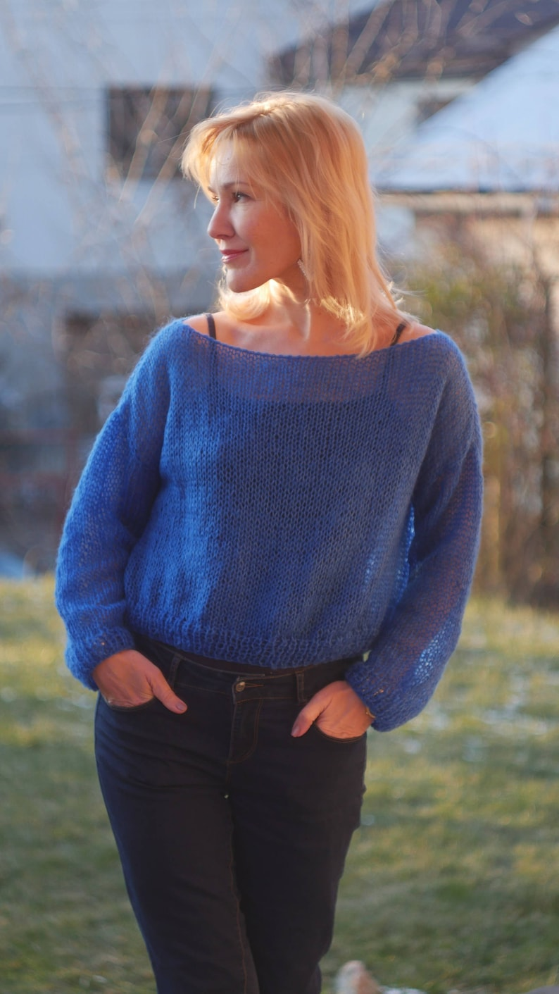 Blue Cropped Sweater  Loose Knit Angora Sweater Boho Fashion Cropped sweater Spring sky blue sweater Electric blue