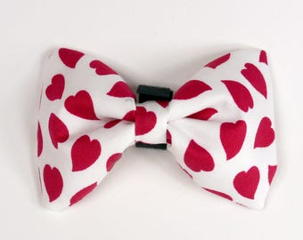 Dog Bow Tie Hearts, Christmas pet bowtie, Collar Attachment