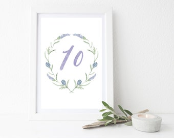 Printable Watercolor Table Numbers 4x6 // Floral Lavender Table Numbers 1-20