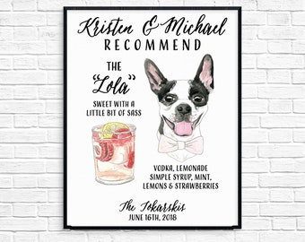 Pet Portrait Signature Drink Sign
