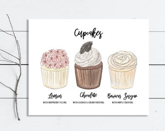 Cupcake Menu Dessert Sign / Custom Wedding Menu Sign Printable