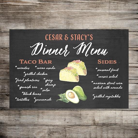 Custom Dinner Menu Food Sign Wedding Food Sign Taco Bar Etsy