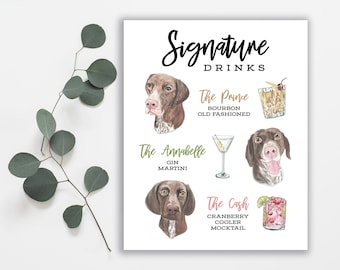 Signature Drink Sign Dog // Custom Pet Signature Cocktail Sign