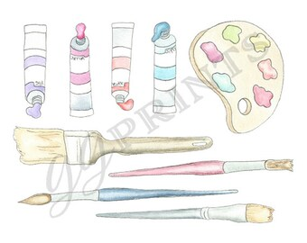 Art Painting Clipart // Watercolor Planner Clipart