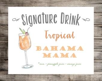 Signature Drink Sign // Custom Watercolor Drink Print // Wedding Sign