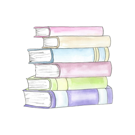 Watercolor Stack of Books Clipart // Planner Clipart // School | Etsy