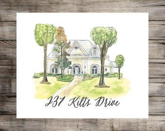 Custom Home Illustration // Wedding Gift // Home Portrait