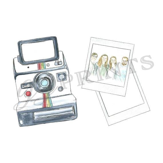 Watercolor Vintage Polaroid Camera Clipart