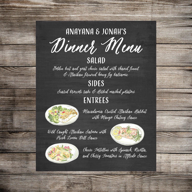 Wedding Menu Food: Custom Dinner Menu Food Sign // Wedding Food Sign // Taco