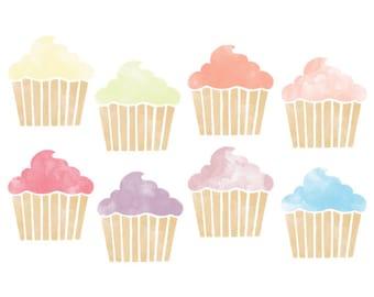 Watercolor Cupcake Clipart // Planner Clipart // Baking Clip Art