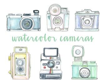 Watercolor Vintage Camera Clipart