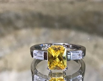 Sunshine Yellow Citrine Ring in Silver