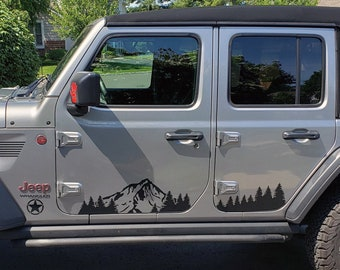 huge discount a89b8 19efd Jeep Wrangler JL (2018-Present) Door with Mountains and Trees Decal