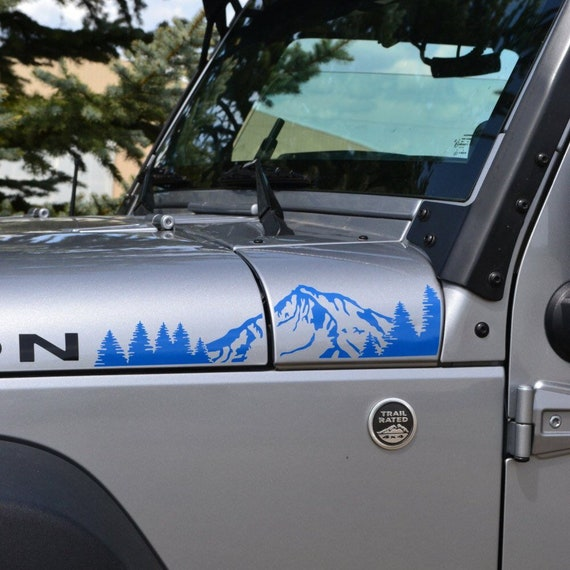 Jeep Wrangler JK Extended Hood with Mountains and Trees Decal 4pc Full Hood Set