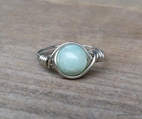 Amazonit Ring Silber Draht umwickelt grüne | Etsy