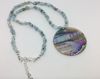 Larimar Necklace and Paua Pendant