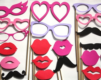 20 PhotoBooth Props, Mustaches, Lips, Wedding Photo Booth, Props on a Stick - C