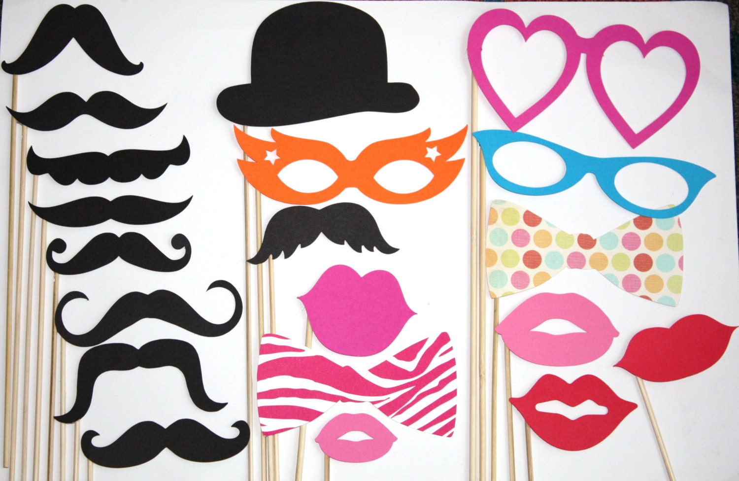 20 Photobooth Props Mustaches Lips Wedding Photo Booth Etsy