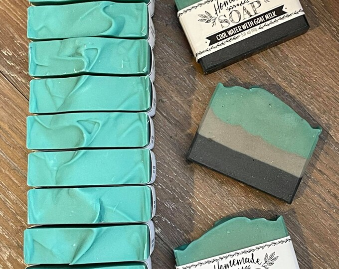 Cool Water Goat Milk Soap  *  Activated Charcoal  *  Men's Soap  *  Moisturizing  *  Fragrance Dupe  *  Natural Soap  *  NEW LARGER SIZE