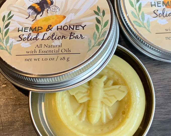Hemp & Honey Solid Lotion Bar * Soothing Lotion Bar * Honey / Beeswax * Moisturizing Lotion Bar * All Natural * A Best Seller
