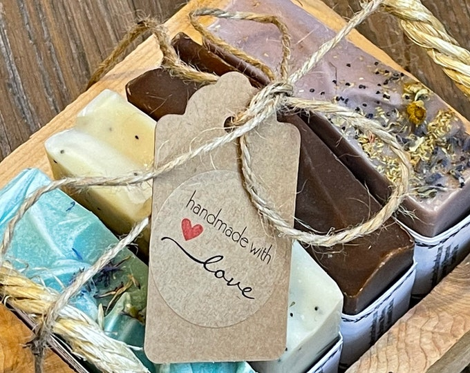 Gift Set  *  Goat Milk Soaps  *  Gift Set  *  Locally Made Wood Box & Handmade Rope  *  Handcrafted Soap  *  Mixed Soap Set