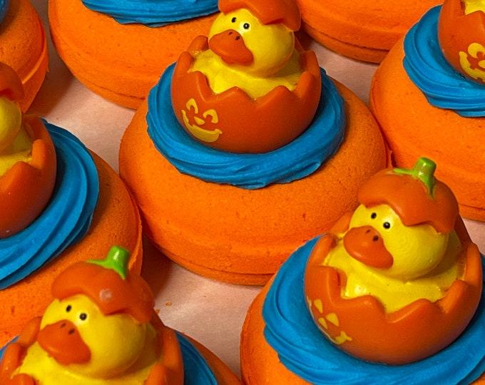 Halloween Donut Bath Bombs with Toy Rubber Duckie  * Moisturizing Bath * Kaolin Clay  * Avocado Oil * Coconut Milk Powder