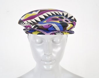 654ebd77a4c28 1990 Emilio Pucci Newsie Cap Psychedelic Resort Florence Cotton