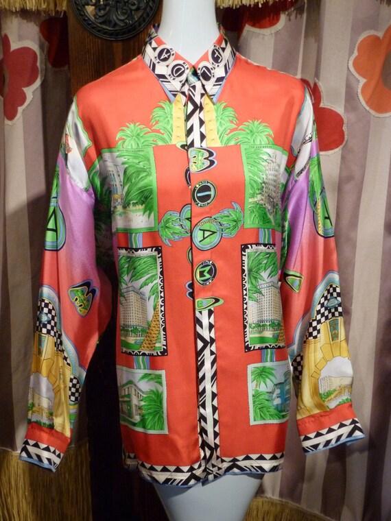1e80f5706b5 1980 Gianni Versace Miami Souvenir Silk Shirt Rare Punk Palm