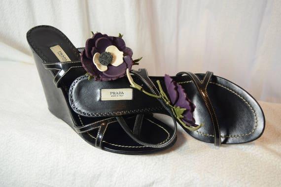 1990 Prada Wedges Flowers Slides Chinoise Purple P
