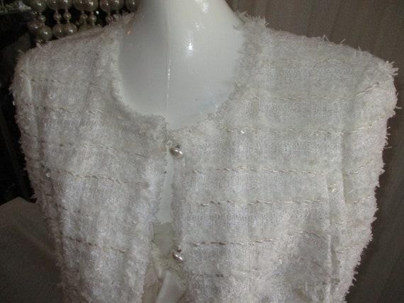Chanel Jacket Ivory Deconstructed Bridal 1990's L… - image 2