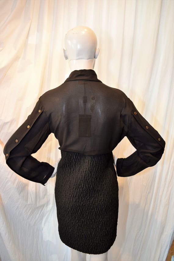 Fendi Shirt Dress 1990's Black Nerd Couture Polo … - image 2