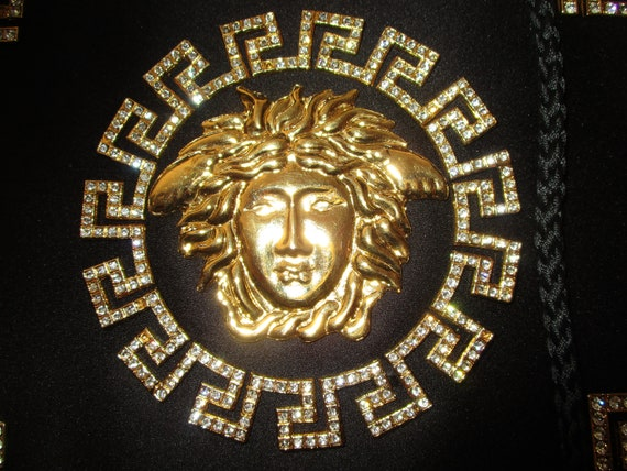 1980's Gianni Versace Satin Evening Bag Medusa Noi