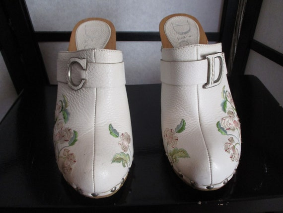 1990 Dior John Galliano Mules Wooden Embroidery Sz