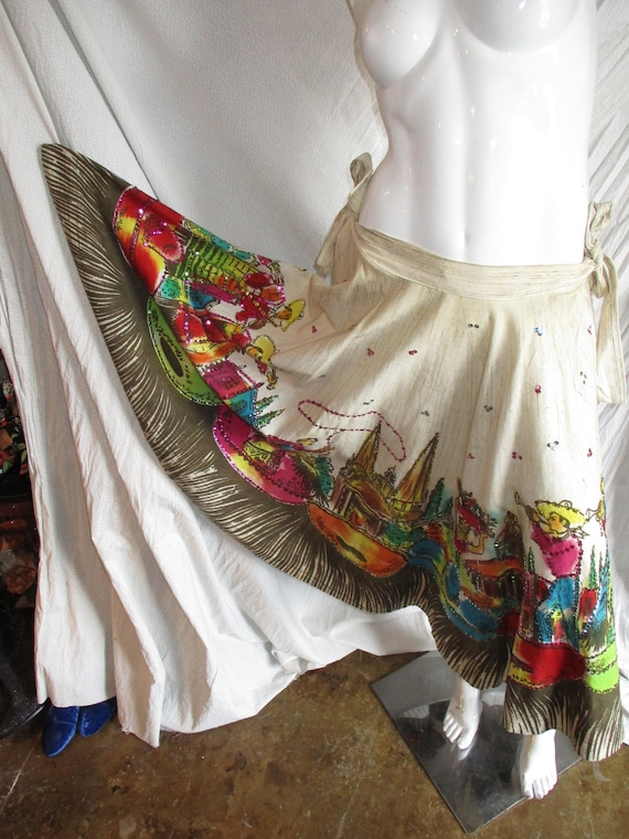 1950's Circle Skirt Mexico Hand Painted Sequins Me