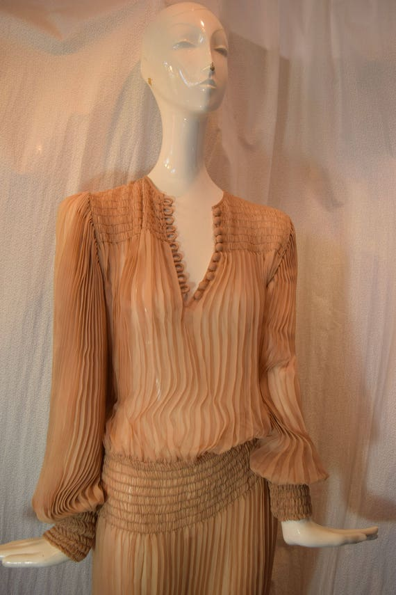 1970's Scott Barrie Silk Goddess Fortuny Dress Bo… - image 3