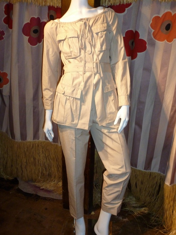 1990's Jean Paul Gaultier Safari Pant Suit Pinstri