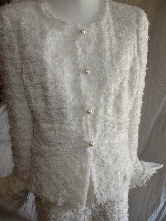Chanel Jacket Ivory Deconstructed Bridal 1990's Lo