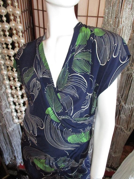 1940's Sarong Dress Rayon Franklin Fashions Navy G