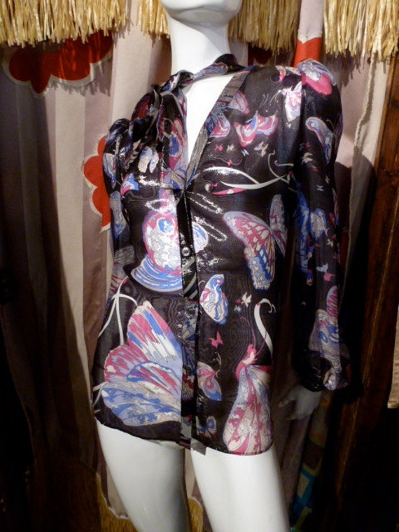 Pucci Psychedelic Butterflys Blouse Italy 70s Meta