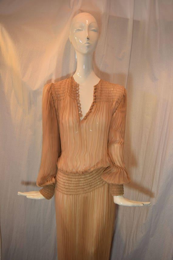 1970's Scott Barrie Silk Goddess Fortuny Dress Bo… - image 2