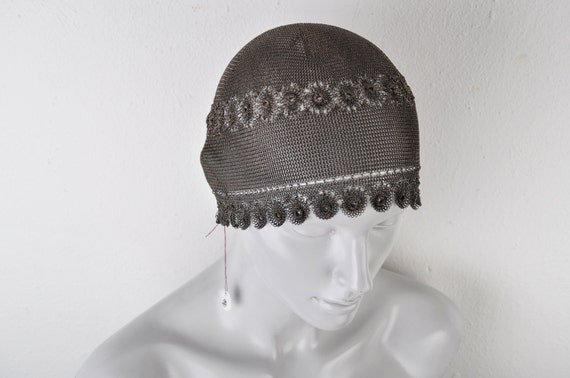 1920's Sterling Silver Skull Cap Chain Mail Links… - image 3