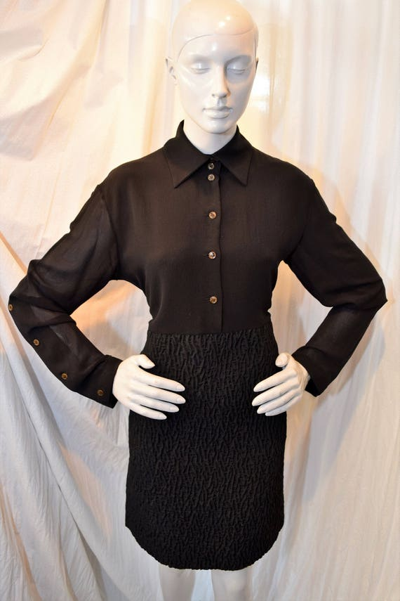 Fendi Shirt Dress 1990's Black Nerd Couture Polo … - image 1
