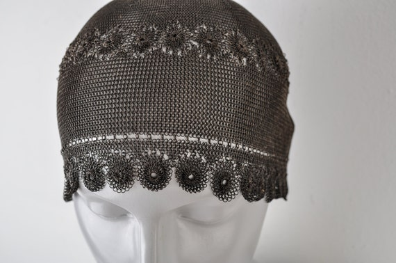 1920's Sterling Silver Skull Cap Chain Mail Links… - image 1