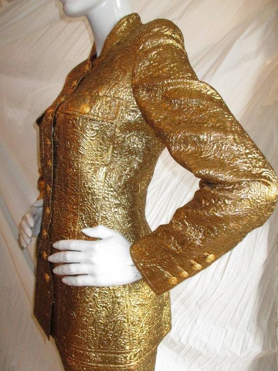 Chanel Gold Brocade Jacket 1996 Raj Paris Nehru Sz